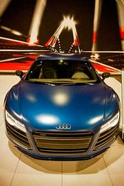 Audi R8 V10 at the 2014 New England International Auto Show. Horsepower: 550. Private tag: about $208,000.