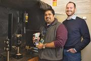 Abhishek Rege, left, and M. Jason Brooke are developing a tool to detect early signs of blindness in diabetes patients.