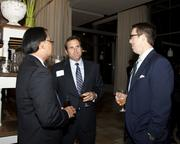 Tim Ching, regional president of North Valley Bank, Jacob Flesher of Flesher McKague LLP and Business Journal publisher Terry Hillman chat at the Book of Lists party.