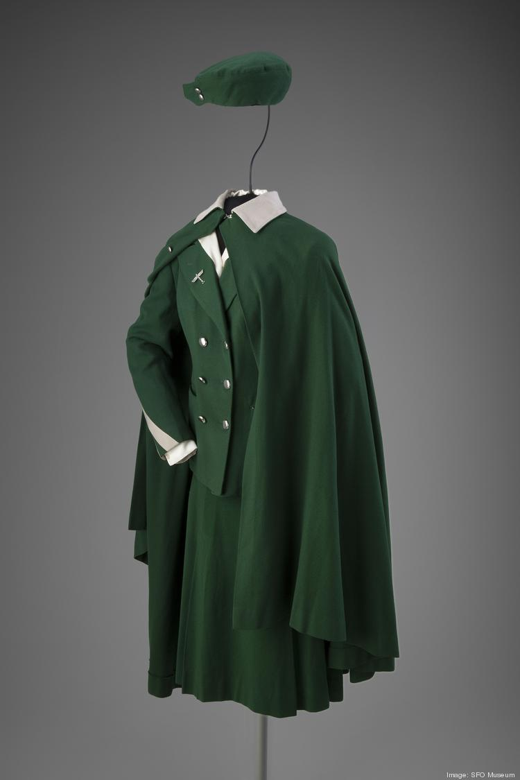 A stewardess uniform complete with cape from Boeing Air Transport, worn in the early 1930s.