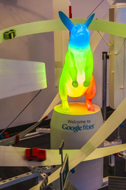 Google Fiber lights up its rabbit mascot at the Google Fiber Space, which is located in the Westport neighborhood in Kansas City, Mo.