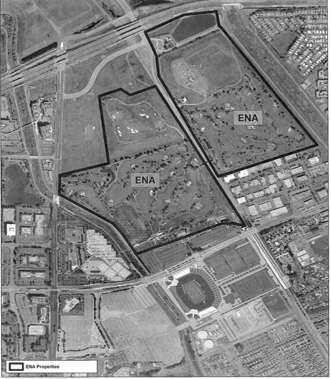 """This map shows the area where the city of Santa Clara could enter into an exclusive negotiating agreement with the Related Cos. to develop a 230-acre """"entertainment district"""" across the street from the 49ers Stadium. The land between the stadium and the current golf course is being eyed for a hotel development by 49ers legend Joe Montana."""