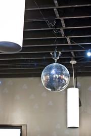 A disco ball mounted at Paramore previously hung at CitySearch, a prior employee for president Hannah Paramore.