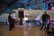 A Bombardier Learjet was on display for guests to look inside.