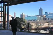 The view of downtown Atlanta from the College Football Hall of Fame's rotunda.