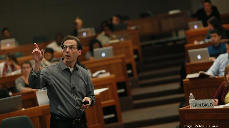 Suffolk University Law School's new dean Andrew Perlman wears Google Glass in a 2013 law class.