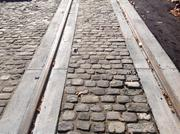 This is what the finished trackslabs on Elm Street look like.