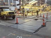 Gas main work continues on Main Street, near Government Square.