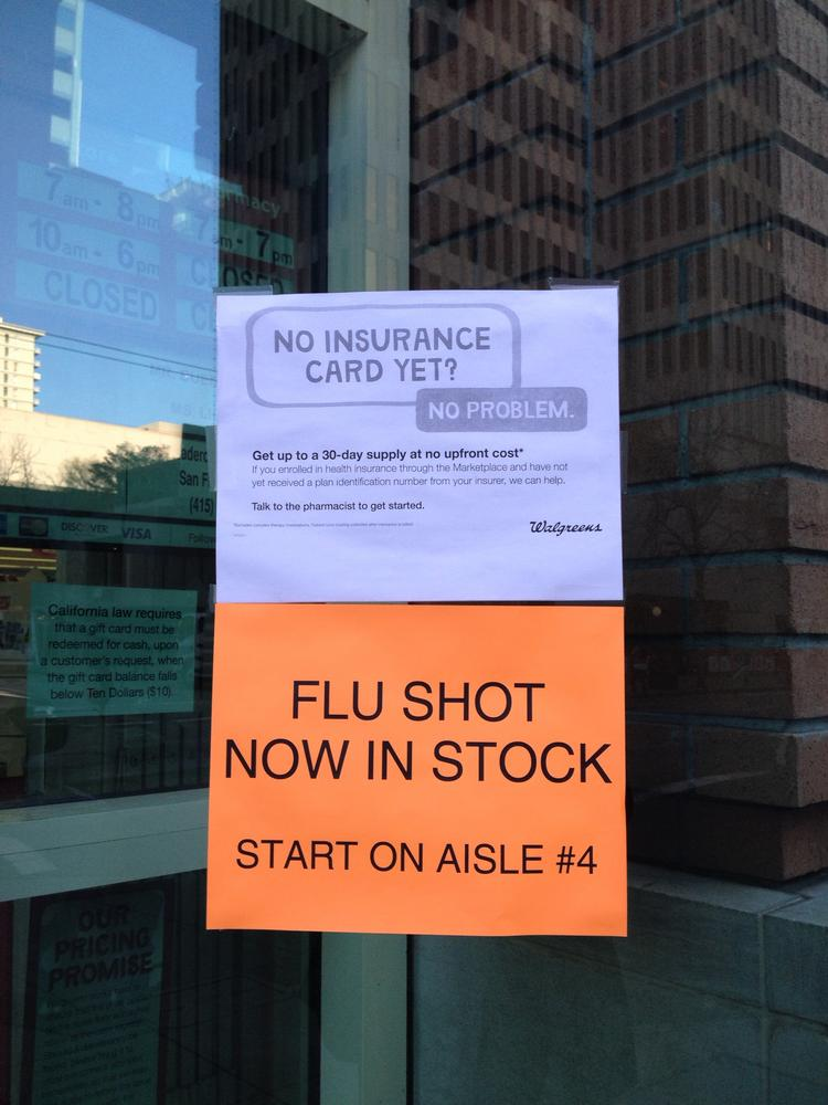 A Walgreens Pharmacy in San Francisco's Financial District had flu vaccine on Friday.