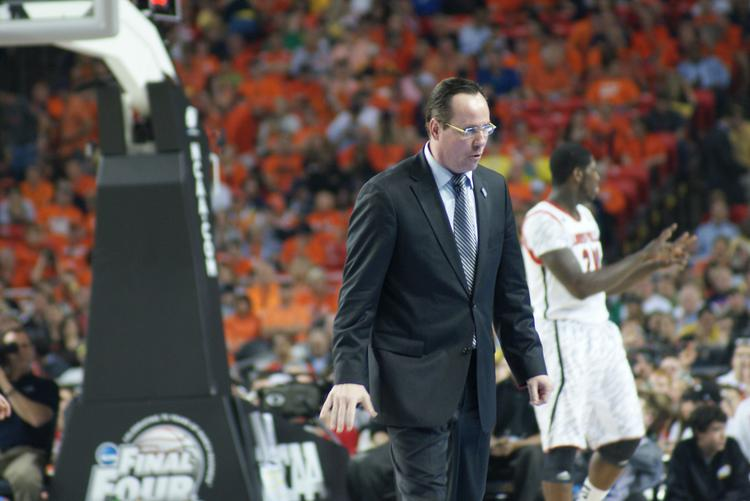 WSU Coach Gregg Marshall turns to talk to his bench in Atlanta at the Final Four.