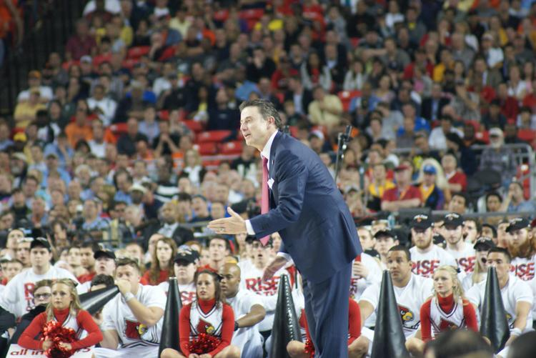 Louisville coach Rick Pitino reacted during the a Final Four game.