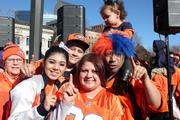 Lots of Broncos families showed their pride at the Jan. 17 team rally, including (from left): Mary Montoya, Ashlee Gomez, Michael Gomez, Gilbert Cordova (in wig), Aunalycia Gomez (on Gilbert's shoulders), and Kelly Pacheco (in front).