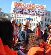 Broncos fans lined up for AFC Championship merchandise at the team rally in downtown Denver on Jan. 17.