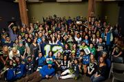 Employees of Zulily, located near the stadiums in Seattle's Sodo district, show their 12th Man spirit.
