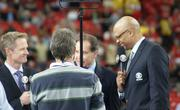 CBS crew of Steve Kerr, Jim Nance,and Clark Kellogg talk to an audience of millions during the pregame.
