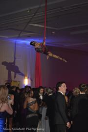 An aerialist entertained the crowd.