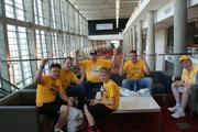 Shocker fans await the start of Saturday's pep rally.