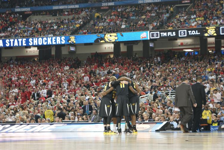 The Shockers huddle before taking the court against Louisville in the 2013 Final Four.