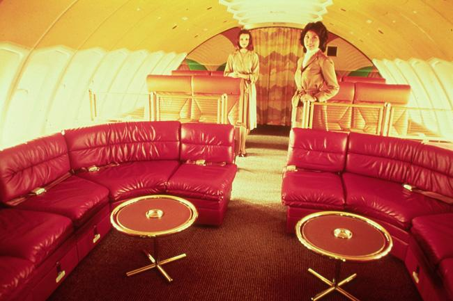 The upper-deck lounge on a Braniff 747. To see more images representing the work of Phil George, who was head of design at Braniff, check out this gallery in Jetliner Cabins.