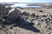 These rocks would normally be covered in water at Folsom Lake, as seen from Granite Bay.
