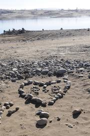 A visitor to the dry lake bed made a heart out of rocks.