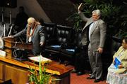 House Speaker Joe Souki recognizes Chief Justice Mark E. Recktenwald at the State of the State Address.
