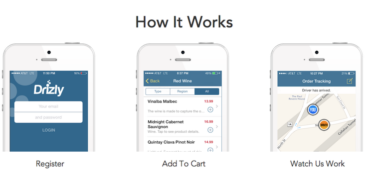 Drizly allows users to request same-day delivery of beer, wine and liquor.