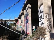 The fences around the site have been knocked down in places, and the existing ruins are defaced.