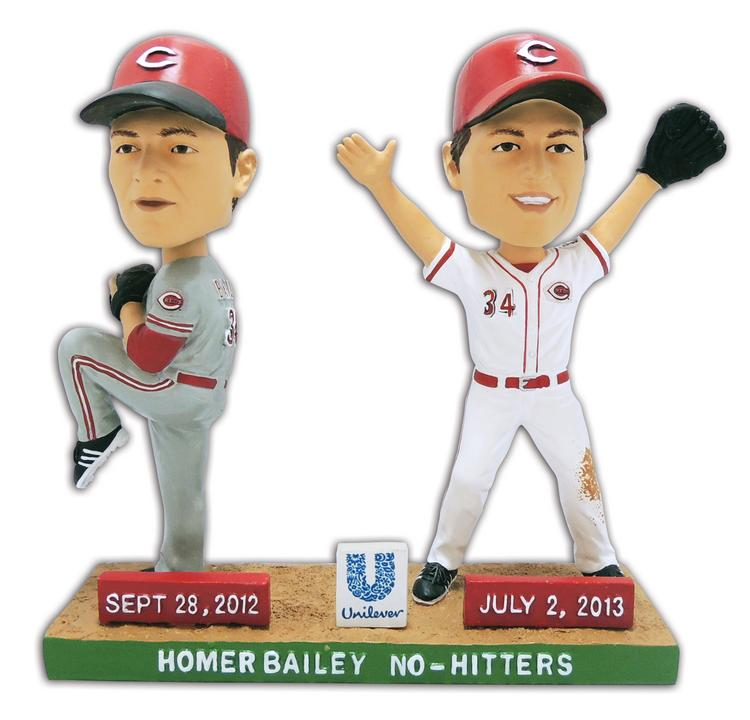 """A Homer Bailey bobblehead is guaranteed with the """"Home Pick-6"""" Mini Plan, one of the options the Reds have created to boost game attendance."""