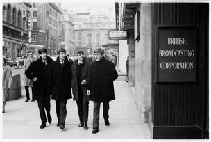 The Beatles are seen outside the BBC Paris Theatre in London in this April 4, 1963 handout photo.