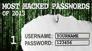 The most hacked passwords list includes 123456 at No. 1.