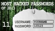 The most hacked passwords list includes 123123 at No. 11.