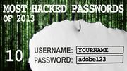 The most hacked passwords list includes adobe123 at No. 10.