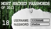 The most hacked passwords list includes shadow at No. 18.
