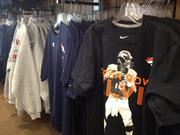 Merchandise at the Focus Sports Super Bowl pop-up store at 1600 California St.