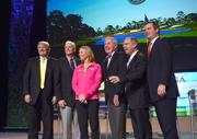 Donald Trump, PGA of America President Ted Bishop, LPGA champion Annika Sorenstam, former USGA executive director David Fay, TaylorMade Golf Chief Executive Officer Mark King and Golf Channel president Mike McCarley gather for a State of the Industry panel.