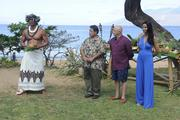 """Hawaii Chef Sam Choy, second from left joins """"Top Chef"""" judges Tom Colicchio and Padma Lakshmi for a Hawaiian greeting welcoming the chef'testants to Maui on the lawn at the Andaz Maui at Wailea."""