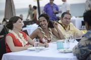"""From left, """"Top Chef"""" judges Gail Simmons, Padma Laskshmi, and Emeril Lagasse enjoy a moment during filming at Merriman's Kapalua on Maui."""