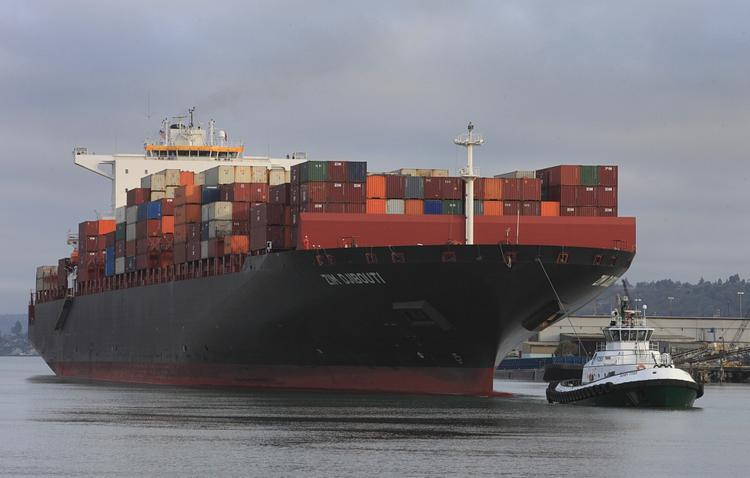 The Grand Alliance has brought some very large ships to the Port of Tacoma. In July arrived the ZIM Djibouti, an alliance member and the largest ship ever to call the port, with a capacity of 10,000 20-foot containers.