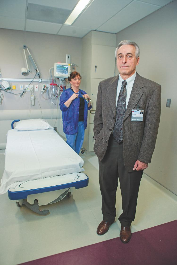 John Galati, interim CEO of TLC Health System and Lake Shore Health Care Center, is working hard to save the system and the jobs of the remaining 300 employees including Angeline Mardino, a charge nurse at the Chautauqua County hospital.