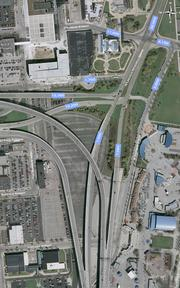 View of the current Lakefront Gateway area with average weekday traffic counts for major thoroughfares.