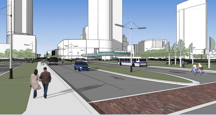 A view from Clybourn Street looking west toward downtown. The rendering includes the proposed Couture and a new high-rise that could be built where two interstate ramps are now.