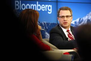 Doug McMillon, chief executive officer Wal-Mart Stores Inc., right, speaks at the World Economic Forum (WEF) in Davos, Switzerland, last month.