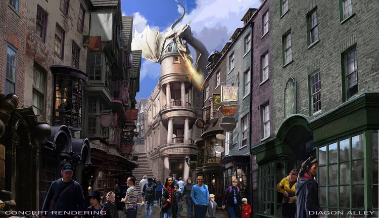A rendering of the main street of Harry Potter — Diagon Alley at Universal Orlando's upcoming new attraction.