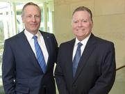 """Almost 25 years ago, Hillwood Properties President Mike Berry, right, was swayed by Ross Perot Jr. to help create AllianceTexas. They met at Vanderbilt University's Sigma Alpha Epsilon fraternity: Perot was president; Berry the social chairman. """"I think we're still playing those roles,"""" Berry said."""
