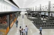The international terminal would have more waiting room and amenities.