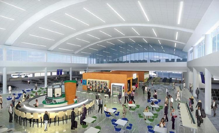 One of the features in the new and renovated terminals will be high ceilings with clerestory windows.