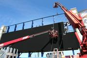 Video scoreboard being installed at George M. Steinbrenner Field by Apogee Signs out of Tallahassee.