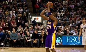 Kobe Bryant participates in an NBA basketball game at the Air Canada Centre on January 24, 2010 in Toronto, Canada.