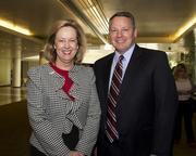 U.S. Bank vice president and wealth management consultant Mary Barber and U.S. Bank senior vice president Barry Brundage pose at the Sacramento Business Review.